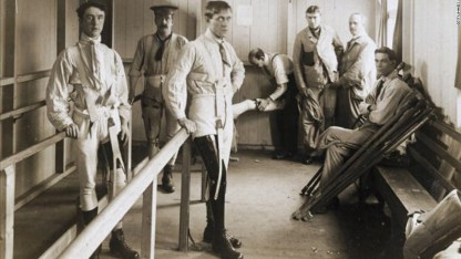 UNITED KINGDOM - SEPTEMBER 29: Postcard of British soldiers wearing artificial legs. The parallel bars are to support the men as they learn to walk with their new limbs. This scene was almost certainly photographed at Queen Mary's Convalescent Auxiliary Hospital, Roehampton, London. This specialised orthopaedic hospital opened in 1915 and was mainly devoted to fitting artificial limbs to British soldiers who lost limbs during World War One, 1914-1918, of whom there were around 240,000. (Photo by SSPL/Getty Images)